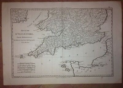 Southern England Wales 1780 By Rigobert Bonne Antique Copper Engraved Map