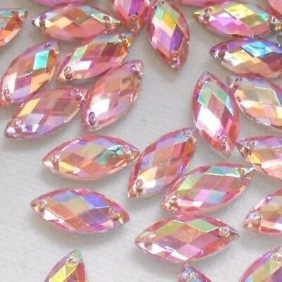 7*15mm PINK AB Crystal Rhinestones Sew on Acrylic Flatback Fancy Horse Eye 70pcs