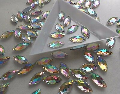 Horse Eye 7*15mm Crystal AB Rhinestone Acrylic Strass Gems Flatback Sew On 50pcs