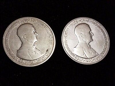 1930 Hungary 5 Pengo Silver Circulated coins - Lot of 2 (LN506)