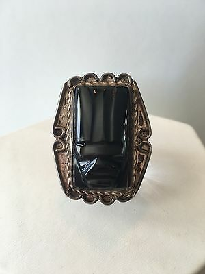 Vintage Aztec Mayan Mexican Sterling Silver Handcarved Black Onyx Mask Ring