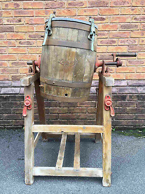 Old Antique Wooden Coopered 'Lister' Butter Churn on Stand