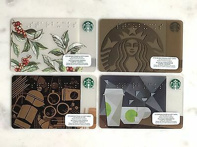 Starbucks card Canada Spring Braille 2014 2015 2016 2017 - lot of 4 cards