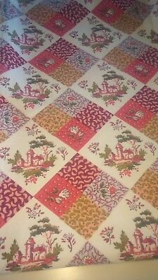 Vintage Barkcloth Fabric Linen Toile Pastels Floral Deep Bold Pinks Table Top
