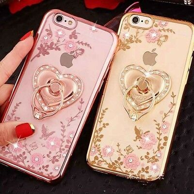 Diamond Glitter Bling Soft Phone Case Ring Holder Stand Cover For iPhone X 8 7 6