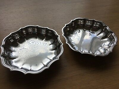 Set of 2 Chippendale International Silver Co. Silver Plate Nut & Candy Dish 692