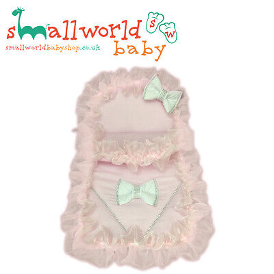 Personalised Pink Bling Pram Set With White Bows (NEXT DAY DISPATCH)