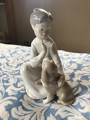 Lladro Figurine #4522 Spain Boy Sitting With Dog Retired 1997 Great Condition
