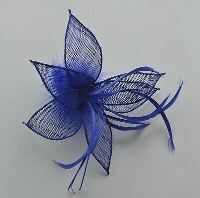 Royal blue sinamay & feather lily flower wedding fascinator hair clip/corsage UK