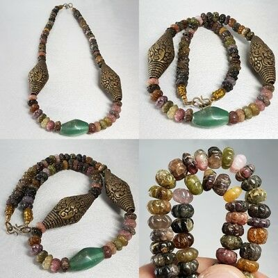 Antique tourmaline stone & Brass Old beads Necklace  # D2