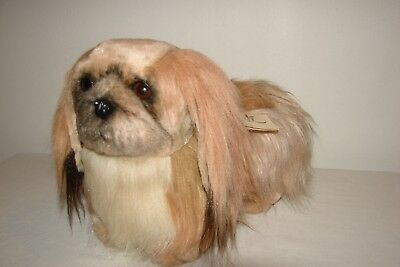 Vintage 80s Avanti Pekingese Plush Dog Realistic Toy With Tags By Jockline Italy