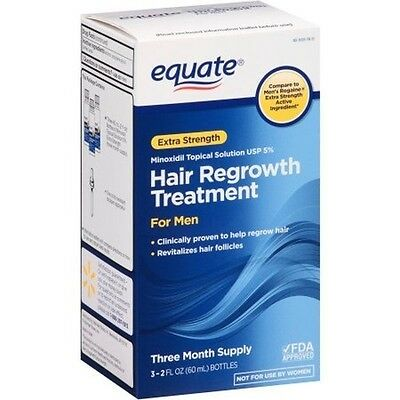 Equate Extra Strength Minoxidil Hair Regrowth Topical Solution for Men, 3ct