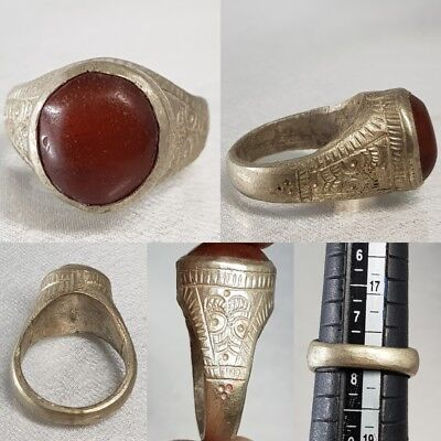 Rare Old Agate Stone Medieval Silver Wonderful Ring  # D2