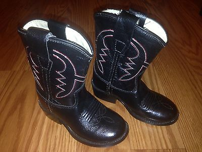 "Childrens ""Old West"" Black Cowboy Boots Size 1C Never Worn Kids 6"" Heel to Toe"