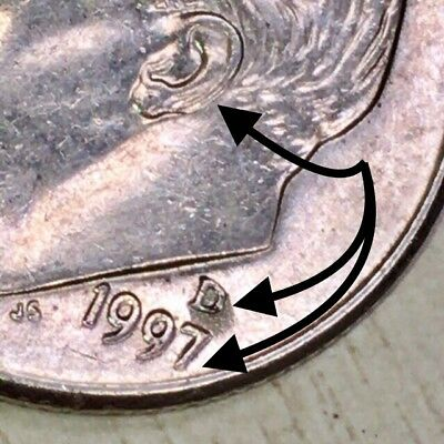1997 D Roosevelt Dime 10c Error Coin !RARE! Double Die Strike Struck Obv Rev US