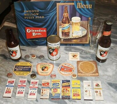 Griesedieck Bros Flat Top Beer Can Menu, Matchbooks, Glass, Coasters And More