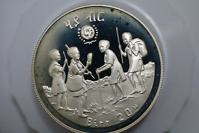 Ethiopia 1979 20 birr Silver coin year of the Child UNICEF PROOF A75 U29