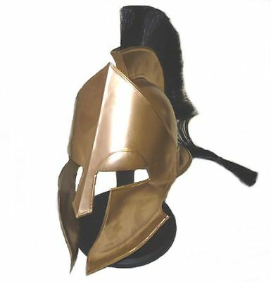 FULL SIZE Greek Corinthian Spartan Medieval Gold Finished Stainless Armor Helmet