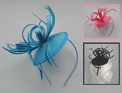 Hot shocking pink or turquoise blue satin loops & feather fascinator/headband