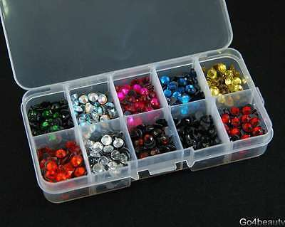 10 Cols Total 1000pcs Iron On Hot Fix Rhinestones ss30 w/Box