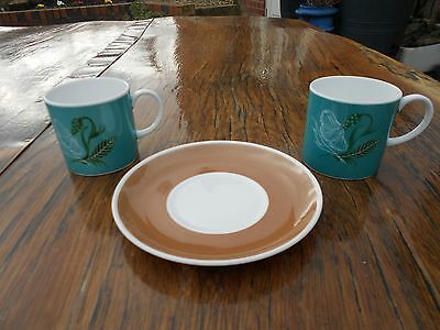 Vintage Susie Cooper Bone China 2 Cups and 1 Saucer Blue/Beige