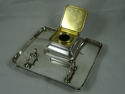 QUALITY solid silver INK STAND, 1908, 528gm