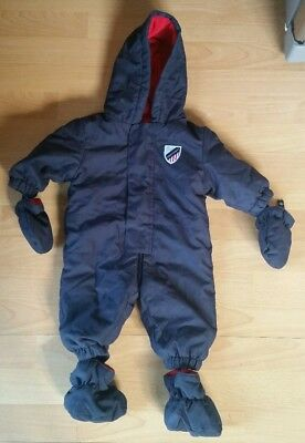 Lupilu Navy Snow Suit Boys 2-6 Months With Mitts And Feet Booties 3-6 Pram Suit
