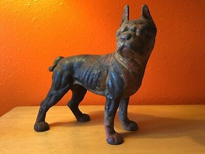 Antique Cast Iron Boston Terrier French Bull Dog Doorstop Hubley gift pure breed