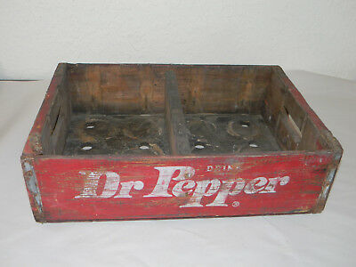 Houston Texas Dr Pepper Bottle Crate Vintage Wooden Caddy Carrier Advertising