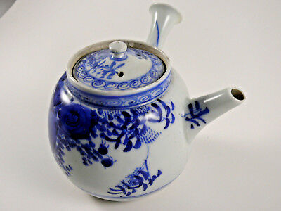 Japanese Deep Blue and White Porcelain Kyusu Teapot Pre 1880 with Tea Strainer