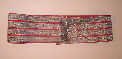 Original 19thC Military Waist Belt Red Silk Silver Bullion Toggles Edinburgh