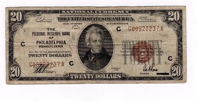 1929 Twenty Dollar Bill $20 National Currency Brown Seal Note - Philadelphia, PA