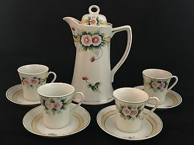 Vintage Hand Painted Chocolate Pot w/ 4 Cups & Saucers Pink Flowers Gold Trim