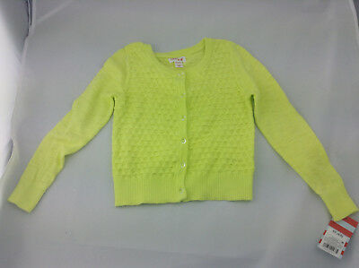 Cat & Jack Girls Sweater - Neon Yellow - Size XS (4/5) - Clear Buttons - NWT