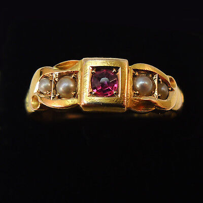 Dated 1895 Victorian 15ct Gold Ruby And Pearl Ring - Chester Antique Vintage