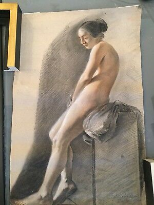 Original Antique Nude Signed Drawing / French  School / 19th Century