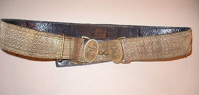Original 19thC Military Sword Belt Gold Bullion Army Brass Buckle Black Leather