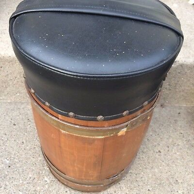 OLD VTG ANTIQUE WOOD BARREL NAIL KEG ORIGINAL PRIMITIVE METAL RING Stool #