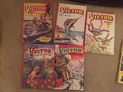 5 x The Victor Book For Boys 1960's