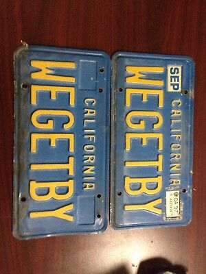 Vintage 1970's California Vanity License Plates WEGETBY. Set Of 2