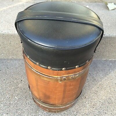 OLD VTG ANTIQUE WOOD BARREL NAIL KEG ORIGINAL PRIMITIVE METAL RING Stool ***