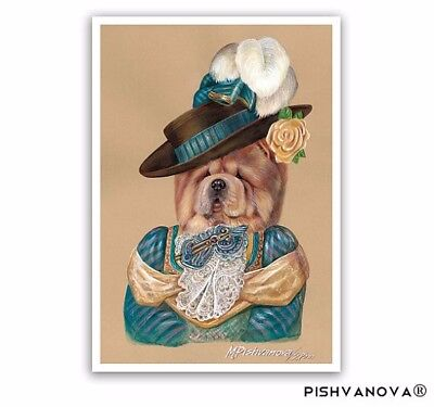 Chow Chow. Lady in Turquoise / Chow Chow Art Print / Lady Dog Portraits