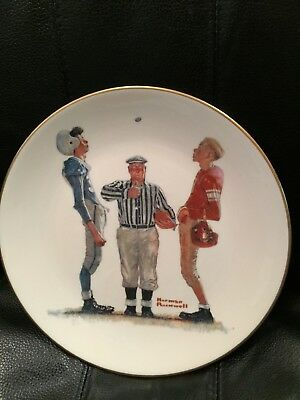 """Danbury Mint Norman Rockwell Gorham China """"The Coin Toss"""" Plate Football Referee"""