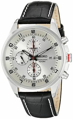 Seiko Men's SNDC87P2 Leather Synthetic Analog with Silver Dial Watch
