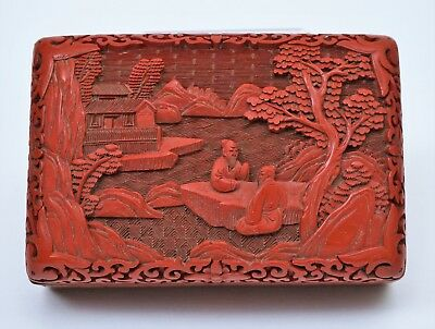 Chinese Carved Cinnabar Lacquer Box Fine Quality