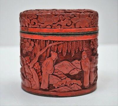 19th c Antique Chinese Carved Cinnabar Lacquer Box / Tea Caddy Fine Quality