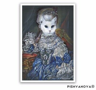 The Regal Cat / Cat Art Print / Marie Antoinette Costume / Classical Cat Artwork