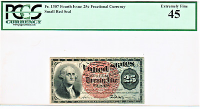 United States 25 Cents Fractional Currency Note Paper Bill - PCGS EF 45