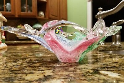 Murano Style Pink Green Blue Multicolored Italian Glass Crystal Clear Vase Italy