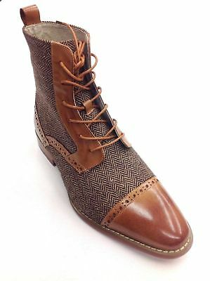 Mens High Top Boot GIOVANNI Leather and Herringbone Tweed Fabric 6485 Tan Cognac
